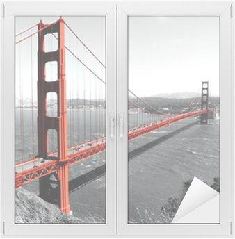 Kultainen portti silta punainen pop on b & w Ikkuna- Ja Lasitarra