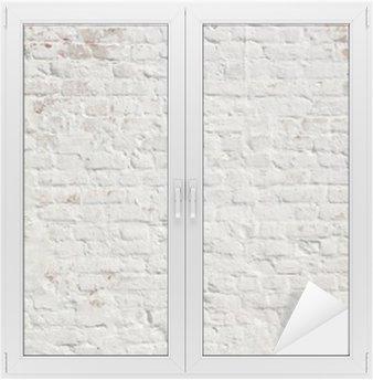 Valkoinen grunge tiiliseinä taustalla Ikkuna- Ja Lasitarra