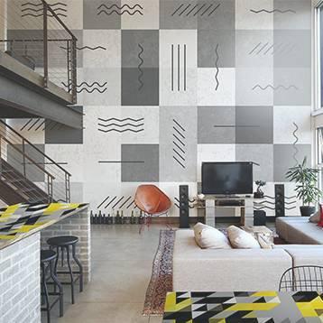 Fototapeta a Nálepka - Industriální obývací pokoj