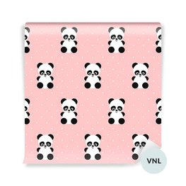Wall Mural Toddler - Panda pattern on polka dots