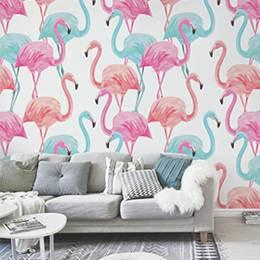 Fototapeta do obývacího pokoje - plameňák akvarel vzor