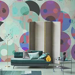 Fototapeta do obývacího pokoje - bezešvé vzor na pozadí, retro / vintage stylu, s kruhy