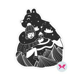 Naklejka - Niedźwiedź i mały chłopiec