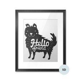 Poster - Hund och bokstäver text - hello friend