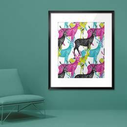 Plakat - Jeleń ręcznie malowany bezszwowe tło