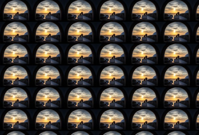 Vinylová Tapeta Sunset od Imerovigli, Santorini - Evropa