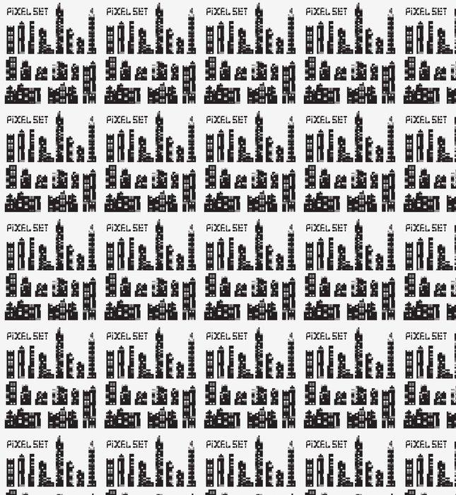 Vinylová Tapeta Sada vektorových pixel budov - Těžký průmysl
