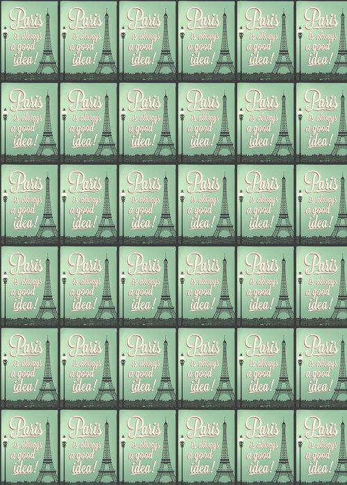 Vinylová Tapeta Typografická Retro Poster s Paříží památky - Evropská města