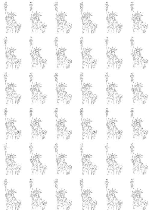 Vinylová Tapeta Americká Socha Svobody Sketch - Národní svátky