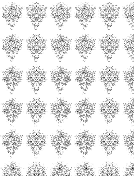 Vinylová Tapeta Složitý kaligrafické květinový vzor - Květiny