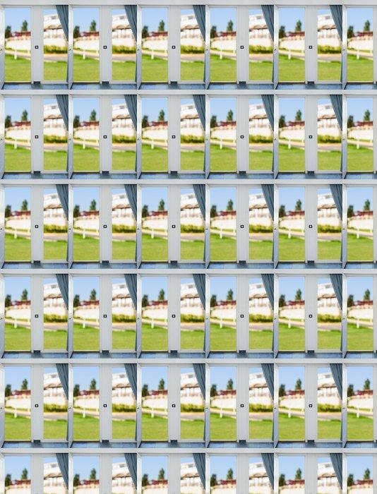 Vinylová Tapeta Příroda s výhledem přes okno se závěsy - Nálepka na stěny