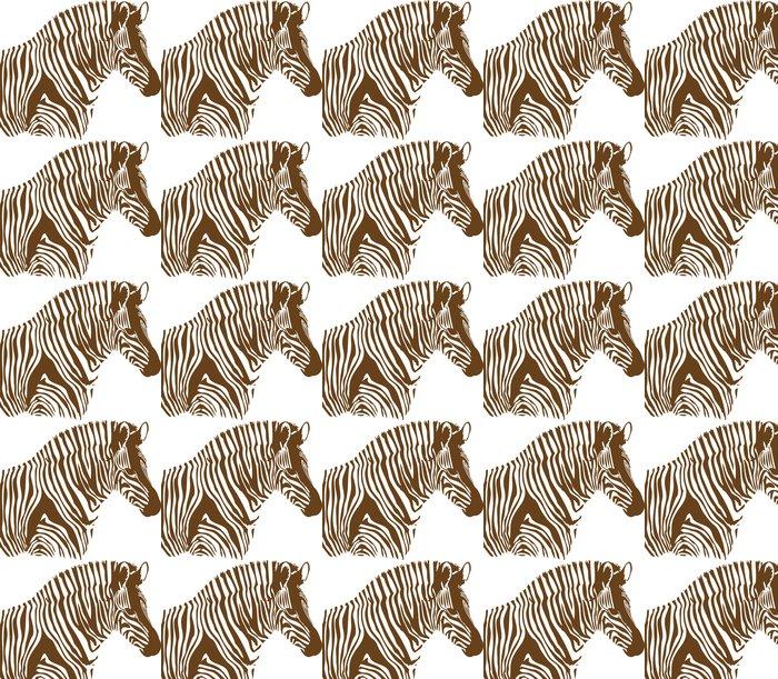 Vinylová Tapeta Hnědá a bílá zebra na bílém pozadí - Savci