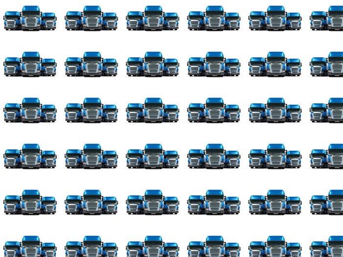 Vinylová Tapeta Těžké nákladní automobily modré izolovaných na bílém pozadí - Těžký průmysl