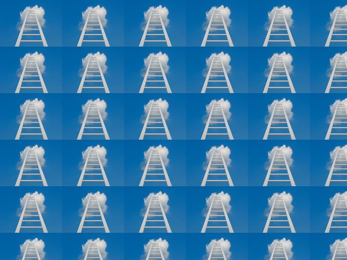 Vinylová Tapeta Bílý žebřík vedoucí do mraků - Prvky podnikání