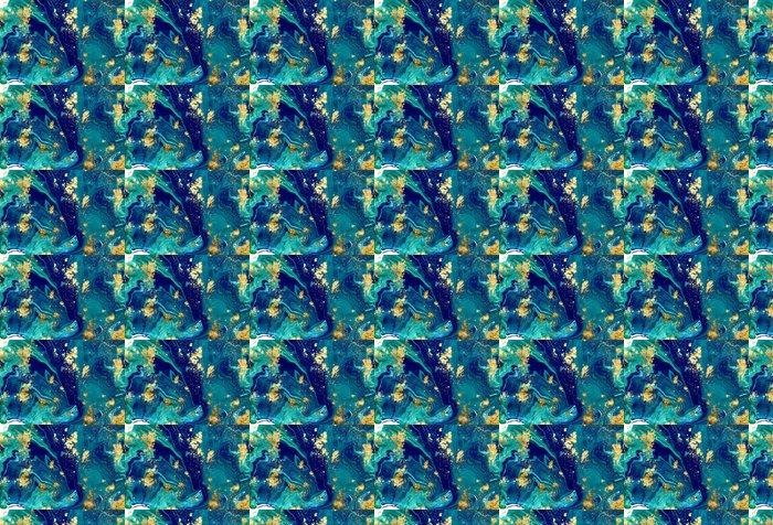 Vinylová Tapeta Mramorovaný modré pozadí abstraktní. Liquid mramor vzor. Mramorování akryl textury - Grafika