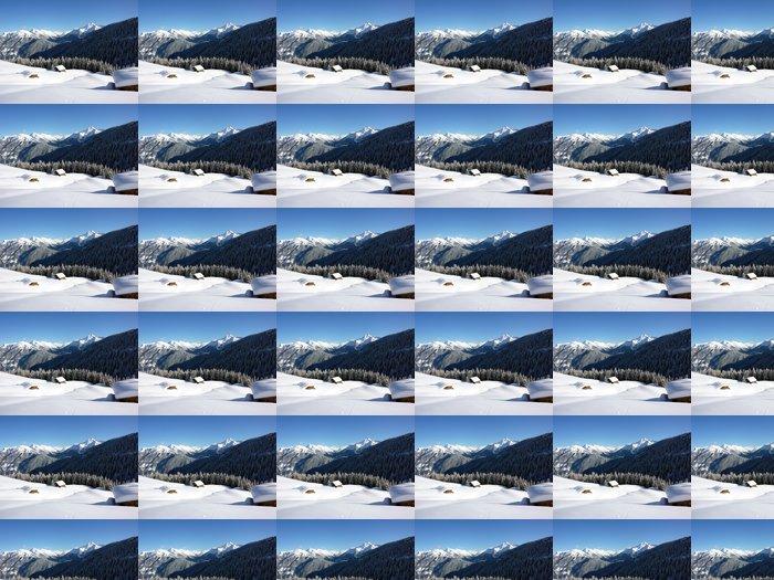 Vinyl Behang Winterlandschaft mit eingeschneiten Almhütten - Vakantie