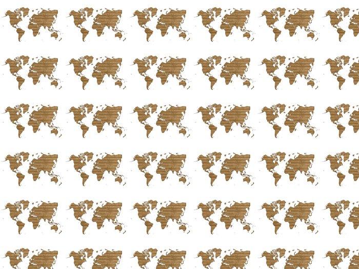 Vinylová Tapeta Mapa světa ve dřevě - Značky a symboly