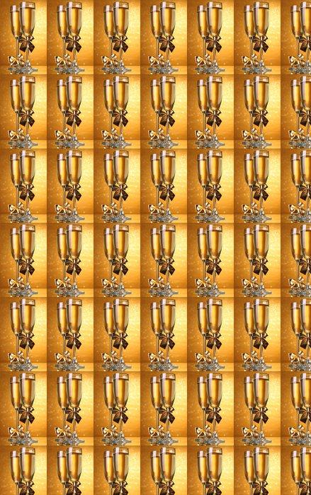 Vinylová Tapeta Dvě sklenice šampaňského na světlé pozadí se světly - Alkohol