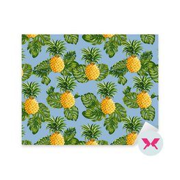 Sticker - Pineapples and Tropical Leaves Background