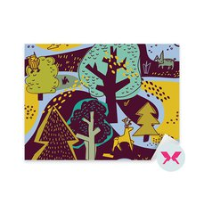 Adesivo per bambini in età prescolare - Paesaggio di primavera della foresta e animali