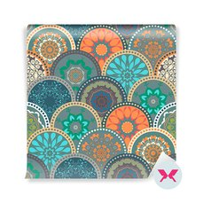 Wall Mural - Abstract pattern frame of trendy colored floral flower tile circles