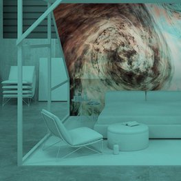 Wall Mural Bedroom - Dark watercolor in water with small pieces of paint