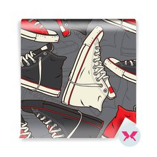 Wall Mural Teenager's room - Pattern with sneakers