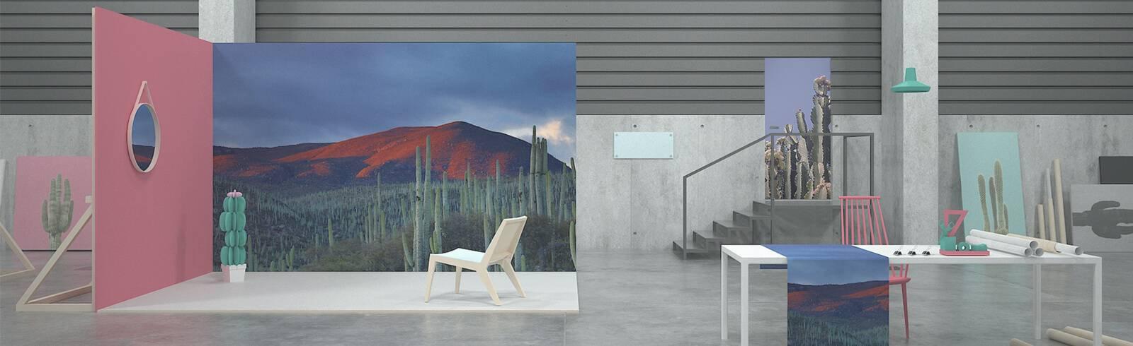 Nálepky - Pouštní krajina saguaro kaktus Arizona USA