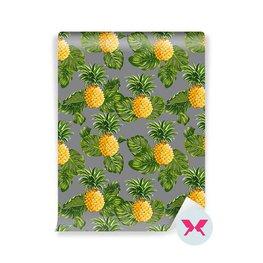 Duvar Kağıdı - Ananas ve Tropikal Yapraklar Arka Plan