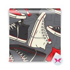Fotomural para el dormitorio juvenil - Patrón con zapatillas de deporte