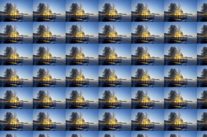 Vinylová Tapeta Řeka a most na slunečný zimní den - Roční období