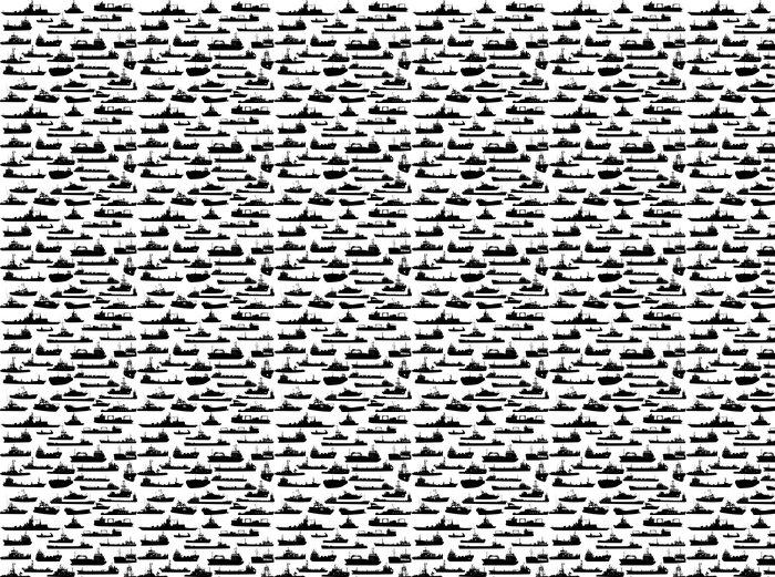 Vinyltapete Set von 32 Silhouetten der Meer Yachten, Schlepper und Schiffe - Boote
