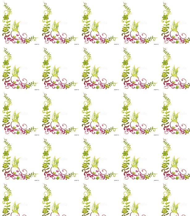 Vinylová Tapeta Ranke, pružina, flóry, kytkou, kytky, filigránové, zelená, růžová - Nálepka na stěny