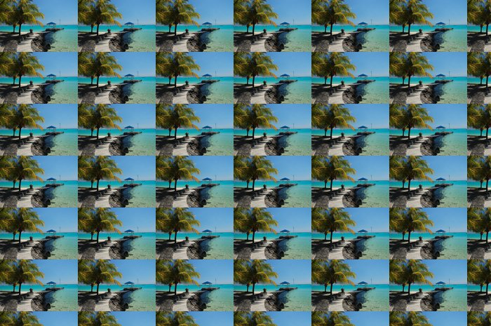 Vinylová Tapeta Beach chodník podél exotické pláži v tropické letovisko - Prázdniny