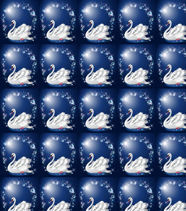 Vinylová Tapeta Elegantní bílá labuť a bubliny - Ptáci