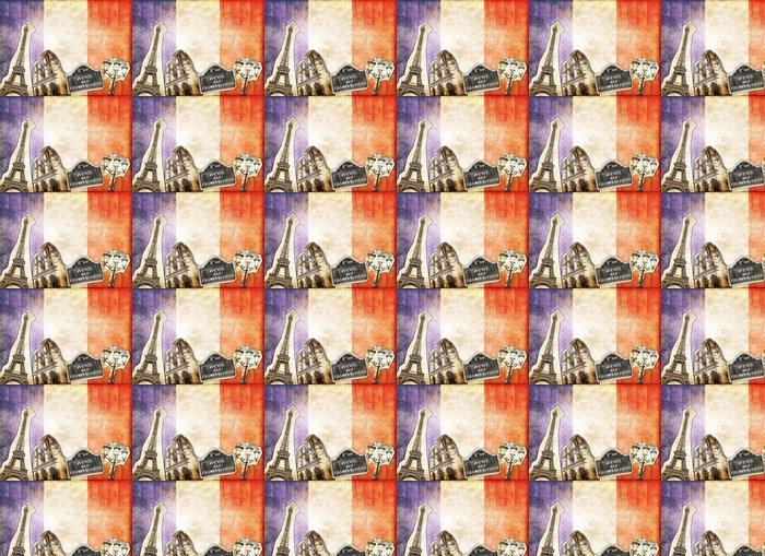 Vinylová Tapeta Koláž vintage Paříž Francie - Národní vlajky