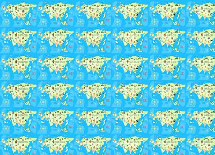 Vinylová Tapeta Konstrukce mapa pojetí euroasijského kontinentu se zvířaty kreslení v legrační kreslený styl pro děti a předškolní vzdělávání. vektorové ilustrace - Grafika