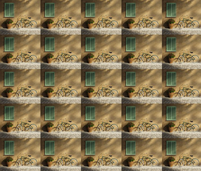 Carta da Parati a Motivi in Vinile Stucco muro toscano, porta biciclette d'epoca romantica d'epoca - Biciclette