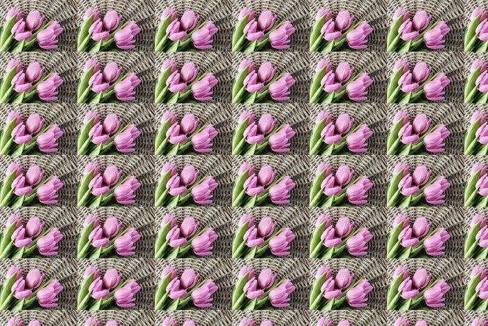 Vinylová Tapeta Nádherná kytice z fialové tulipány na šedém pozadí proutí - Témata