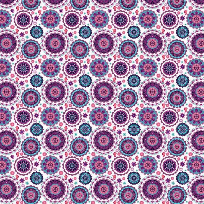 Vinylová Tapeta Mandala květinovým vzorem a motýli - Pozadí