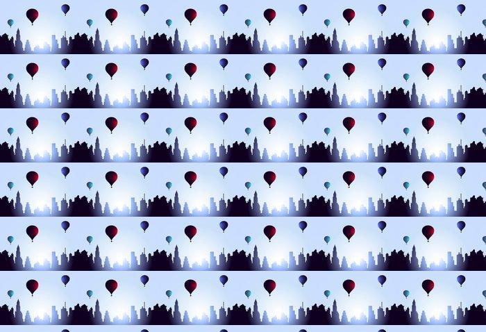 Vinylová Tapeta Early Morning Město Návštěva Air Balloons-Vector - Město