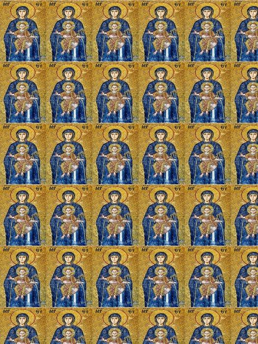 Vinylová Tapeta Panna Marie držící Ježíškem. (Art mozaika Byzanc) - Témata