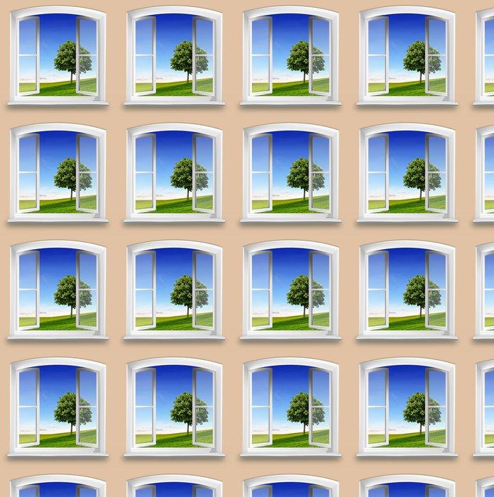 Vinylová Tapeta Pohled z okna na louku se stromem - Témata