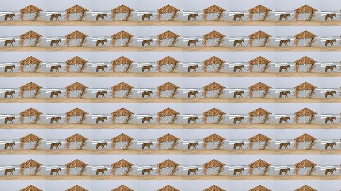 Vinylová Tapeta Kůň a palapa na pláži - Prázdniny