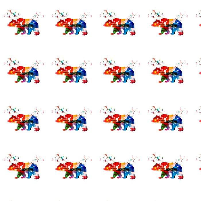 Vinylová Tapeta Barevné vektorové medvěd pozadí s kolibříky - Pozadí