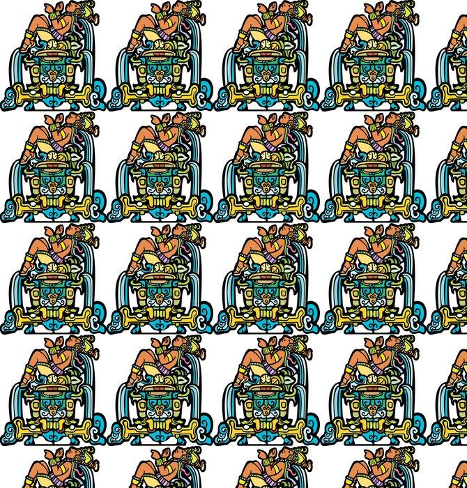 Vinylová Tapeta Sklopná Mayan s vodopády přizpůsobenými z chrámových obrazů. - Jiné pocity
