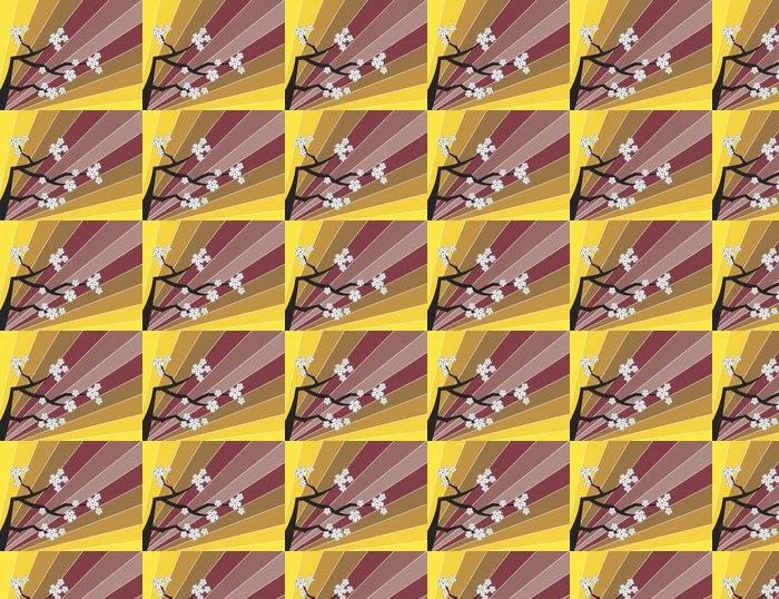 Vinylová Tapeta Bílý třešňové květy a retro pruhy - Asie