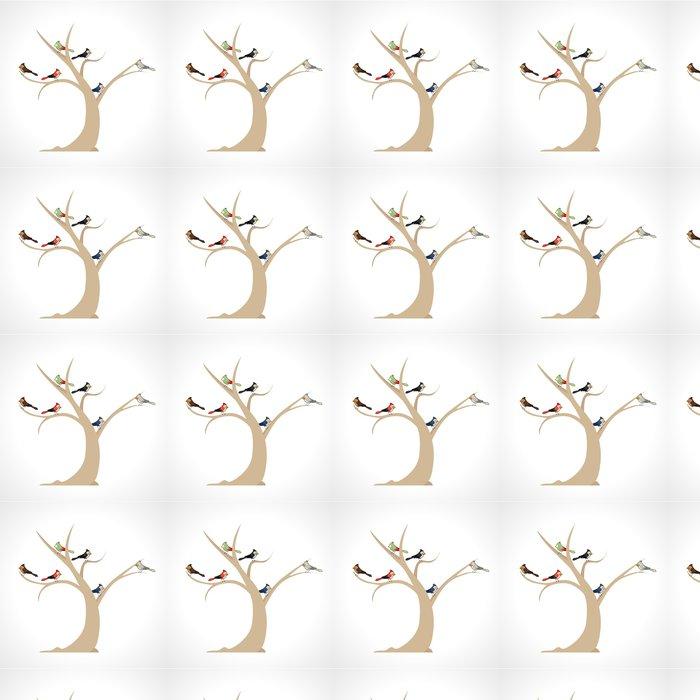 Vinylová Tapeta Barevní ptáci na stromě - Imaginární zvířata