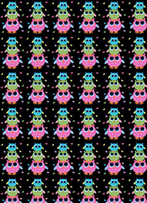 Papier Peint à Motifs Vinyle Trois hiboux colorés doux - Thèmes