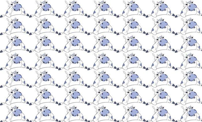 Vinylová Tapeta Šťastná modrá kráva. Karikatura - Savci